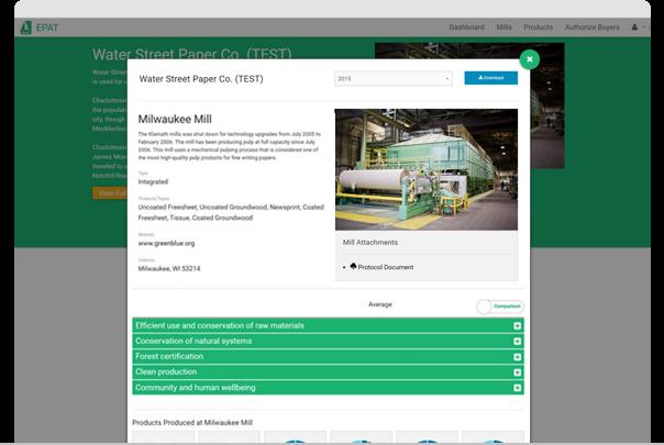 Environmental Paper Assessment Tool - Suppliers Screenshot